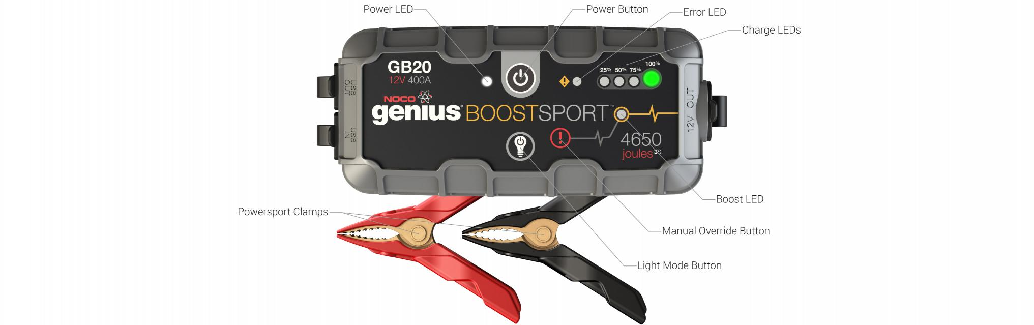 GB20 Jump Box Starting Battery Booster Pack User Interface