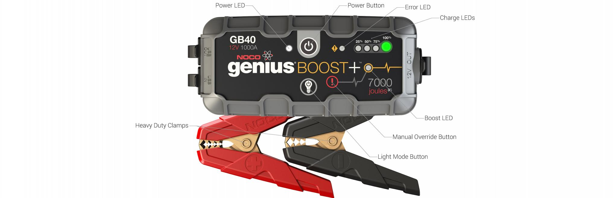 GB40 Jump Box Starting Battery Booster Pack User Interface